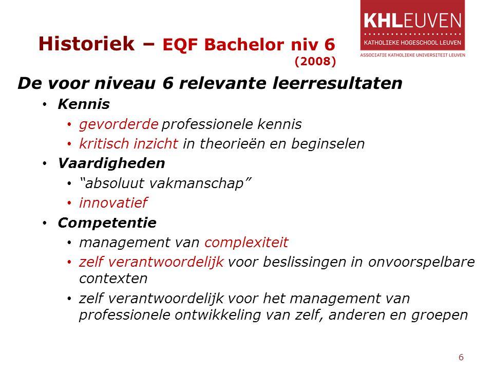 Historiek – EQF Bachelor niv 6 (2008) De voor niveau 6 relevante leerresultaten Kennis gevorderde professionele kennis kritisch inzicht in theorieën e