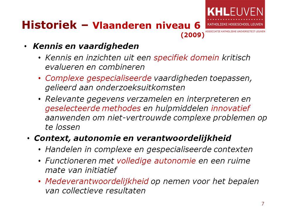 Historiek – Vlaanderen niveau 6 (2009) Kennis en vaardigheden Kennis en inzichten uit een specifiek domein kritisch evalueren en combineren Complexe g