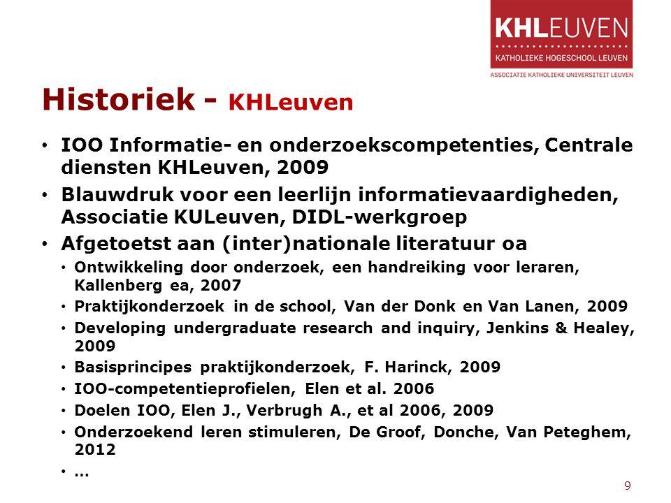 Historiek - KHLeuven IOO Informatie- en onderzoekscompetenties, Centrale diensten KHLeuven, 2009 Blauwdruk voor een leerlijn informatievaardigheden, A