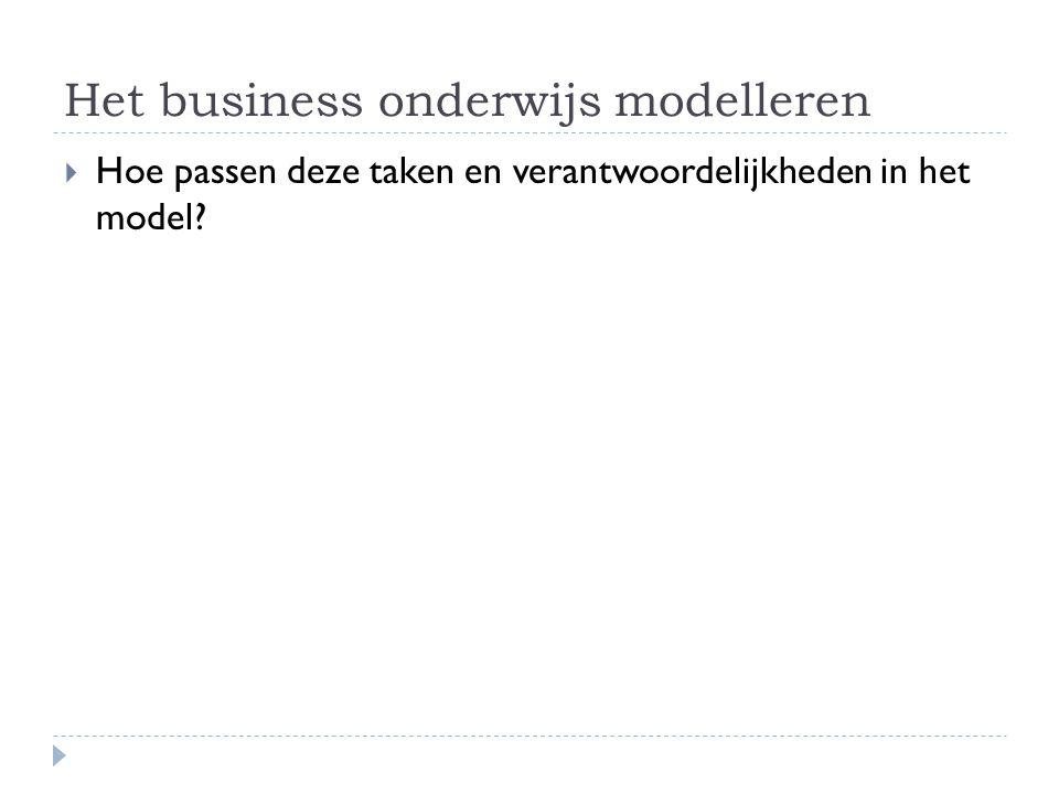 Het business onderwijs modelleren  Hoe passen deze taken en verantwoordelijkheden in het model?