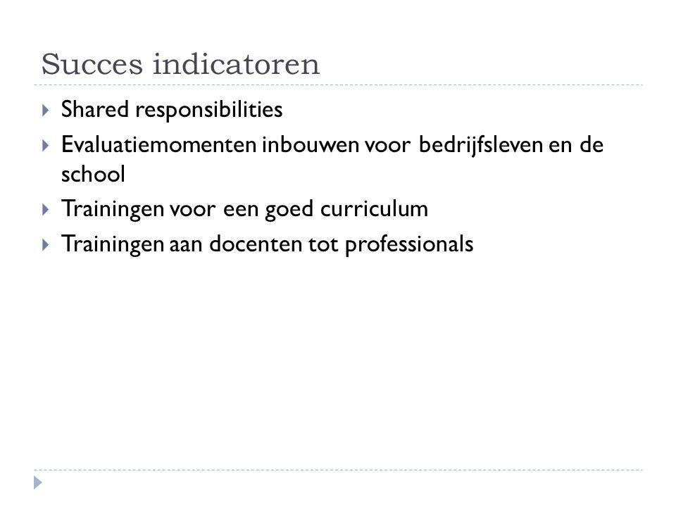 Succes indicatoren  Shared responsibilities  Evaluatiemomenten inbouwen voor bedrijfsleven en de school  Trainingen voor een goed curriculum  Trai