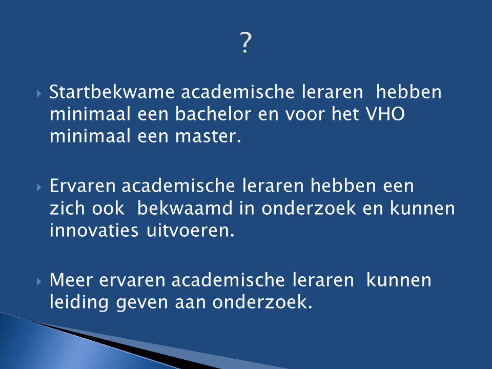  Startbekwame academische leraren hebben minimaal een bachelor en voor het VHO minimaal een master.  Ervaren academische leraren hebben een zich ook