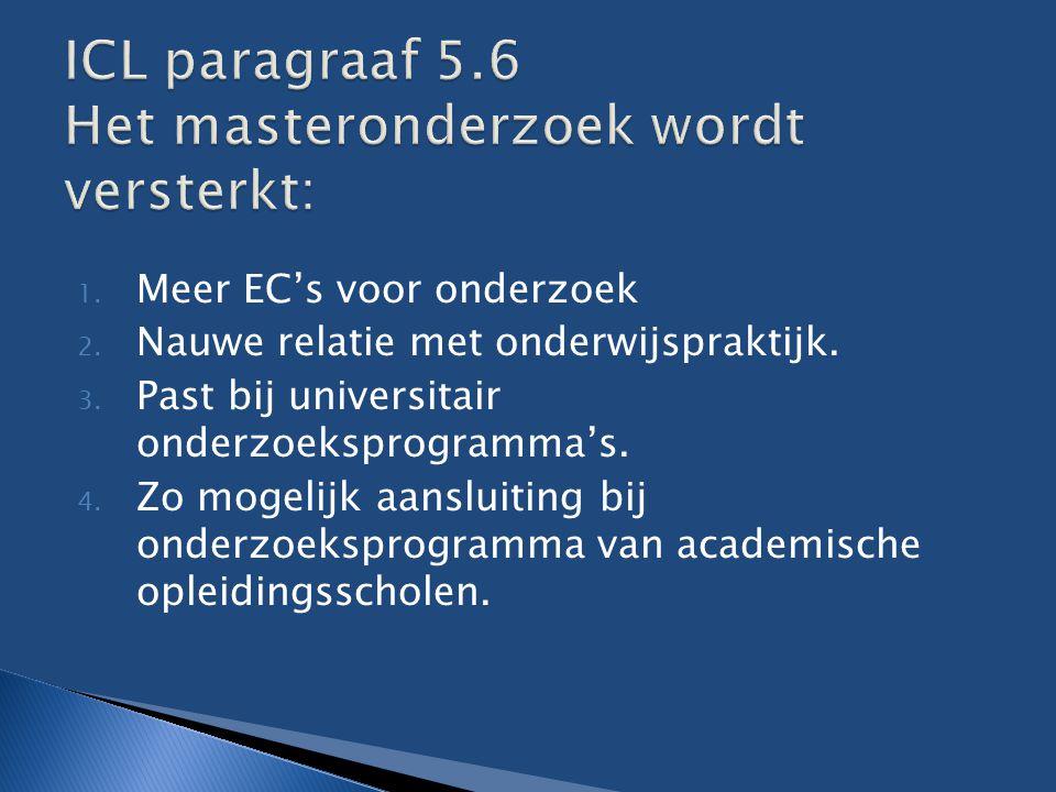 1. Meer EC's voor onderzoek 2. Nauwe relatie met onderwijspraktijk. 3. Past bij universitair onderzoeksprogramma's. 4. Zo mogelijk aansluiting bij ond