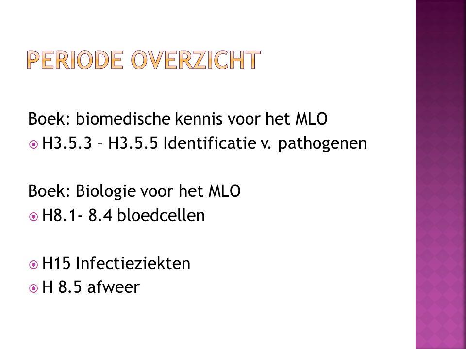 Boek: biomedische kennis voor het MLO  H3.5.3 – H3.5.5 Identificatie v. pathogenen Boek: Biologie voor het MLO  H8.1- 8.4 bloedcellen  H15 Infectie