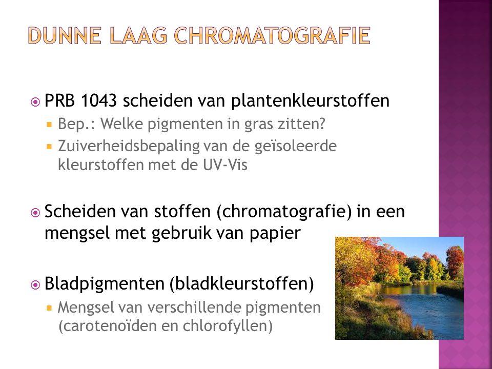  PRB 1043 scheiden van plantenkleurstoffen  Bep.: Welke pigmenten in gras zitten?  Zuiverheidsbepaling van de geïsoleerde kleurstoffen met de UV-Vi