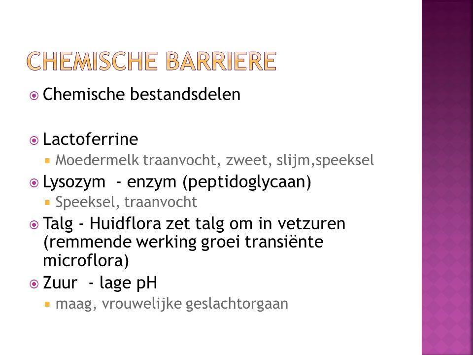  Chemische bestandsdelen  Lactoferrine  Moedermelk traanvocht, zweet, slijm,speeksel  Lysozym - enzym (peptidoglycaan)  Speeksel, traanvocht  Ta