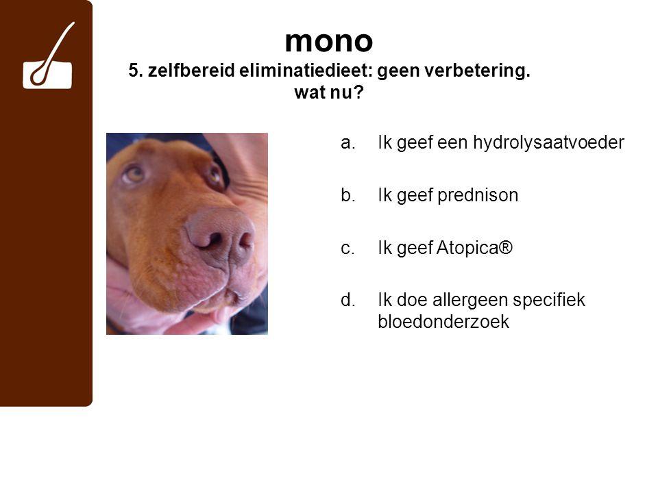 mono 5.zelfbereid eliminatiedieet: geen verbetering.