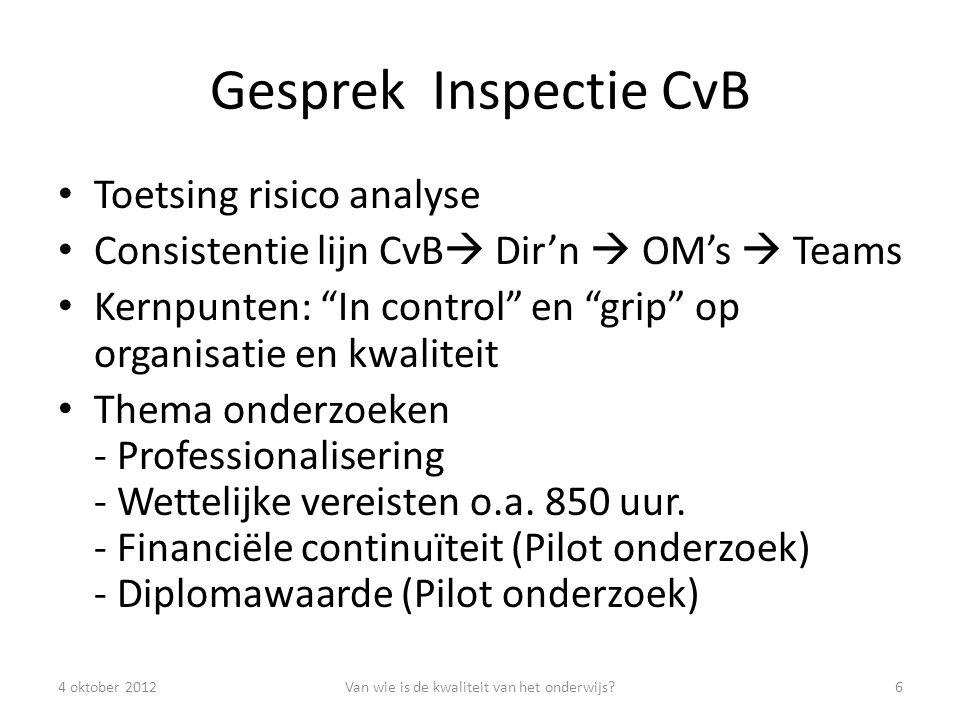 Gesprek Inspectie CvB Toetsing risico analyse Consistentie lijn CvB  Dir'n  OM's  Teams Kernpunten: In control en grip op organisatie en kwaliteit Thema onderzoeken - Professionalisering - Wettelijke vereisten o.a.