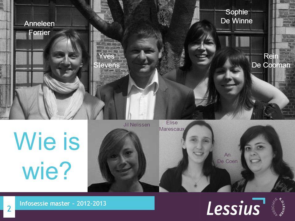 2 Infosessie master – 2012-2013 Anneleen Forrier Yves Stevens Sophie De Winne Rein De Cooman Elise Marescaux An De Coen Wie is wie? Jil Nelissen