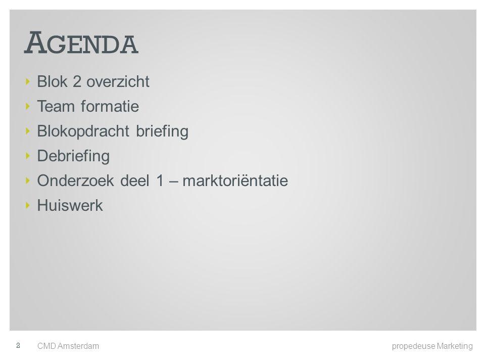 A GENDA ‣ Blok 2 overzicht ‣ Team formatie ‣ Blokopdracht briefing ‣ Debriefing ‣ Onderzoek deel 1 – marktoriëntatie ‣ Huiswerk CMD Amsterdam propedeuse Marketing 2