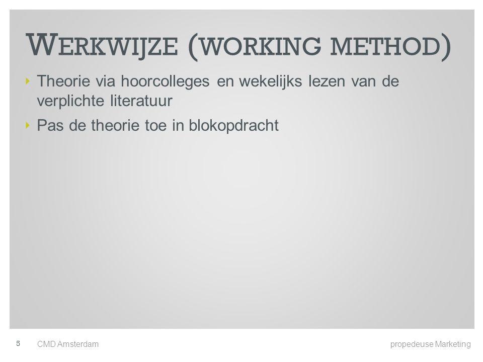 W ERKWIJZE ( WORKING METHOD ) ‣ Theorie via hoorcolleges en wekelijks lezen van de verplichte literatuur ‣ Pas de theorie toe in blokopdracht 5 CMD Amsterdam propedeuse Marketing