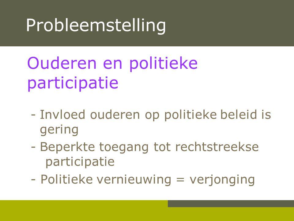 Probleemstelling Ouderen en politieke participatie -Invloed ouderen op politieke beleid is gering -Beperkte toegang tot rechtstreekse participatie - P