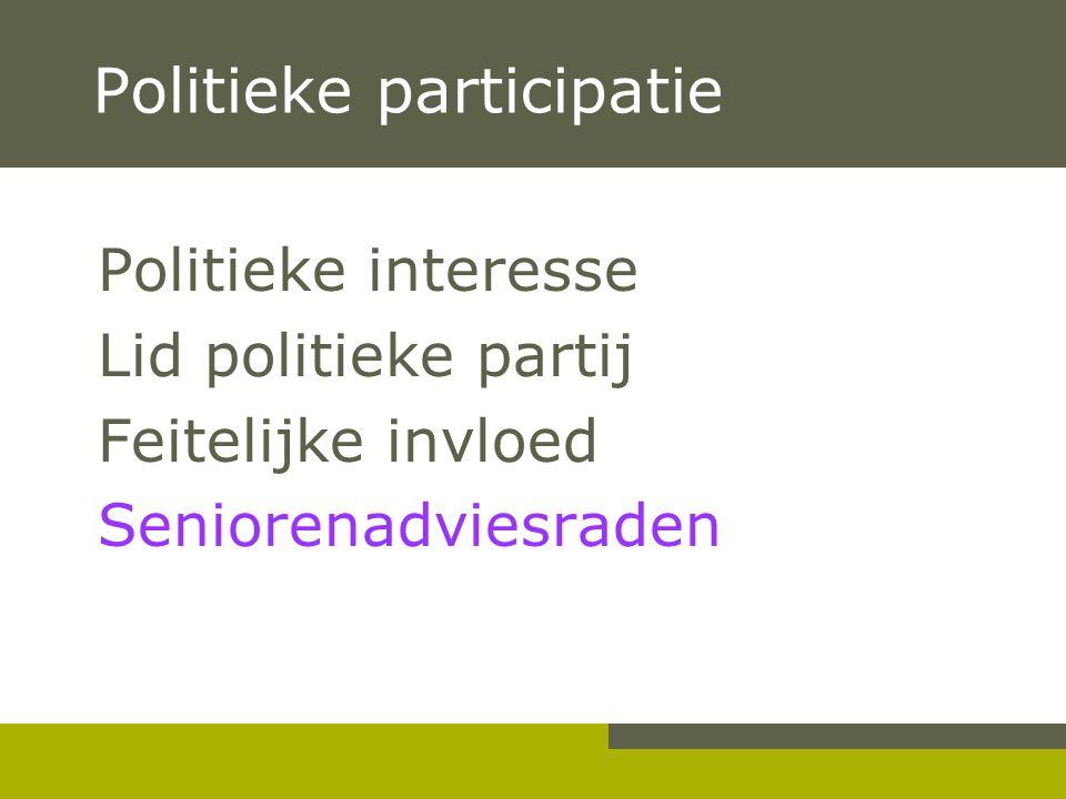 Politieke participatie Politieke interesse Lid politieke partij Feitelijke invloed Seniorenadviesraden