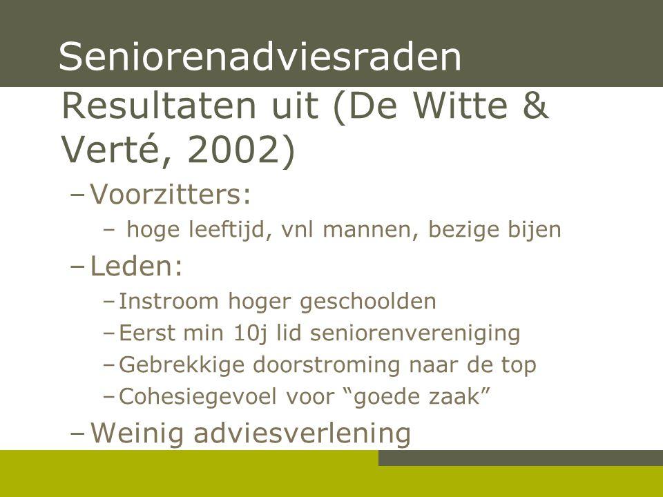 Resultaten uit (De Witte & Verté, 2002) –Voorzitters: – hoge leeftijd, vnl mannen, bezige bijen –Leden: –Instroom hoger geschoolden –Eerst min 10j lid