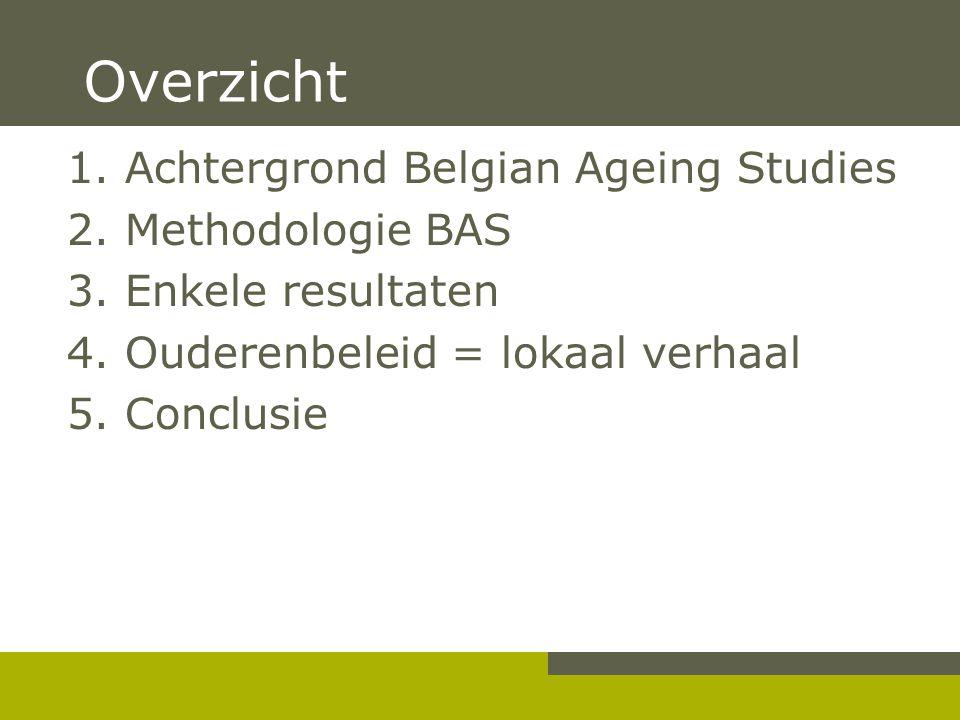 Overzicht 1. Achtergrond Belgian Ageing Studies 2. Methodologie BAS 3. Enkele resultaten 4. Ouderenbeleid = lokaal verhaal 5. Conclusie