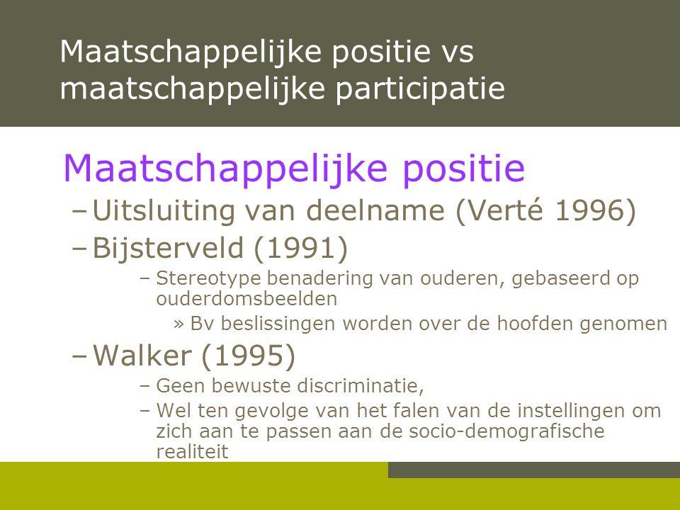 Maatschappelijke positie vs maatschappelijke participatie Maatschappelijke positie –Uitsluiting van deelname (Verté 1996) –Bijsterveld (1991) –Stereot