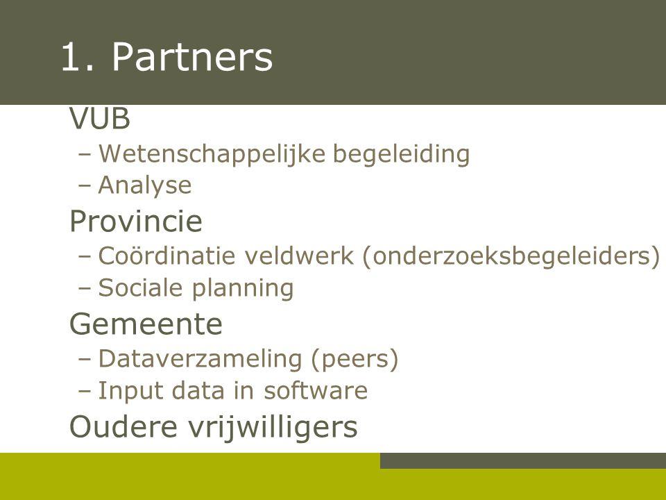 1. Partners VUB –Wetenschappelijke begeleiding –Analyse Provincie –Coördinatie veldwerk (onderzoeksbegeleiders) –Sociale planning Gemeente –Dataverzam