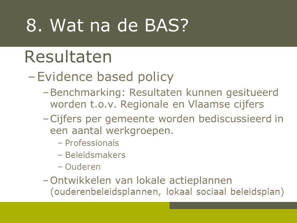 8. Wat na de BAS? Resultaten –Evidence based policy –Benchmarking: Resultaten kunnen gesitueerd worden t.o.v. Regionale en Vlaamse cijfers –Cijfers pe