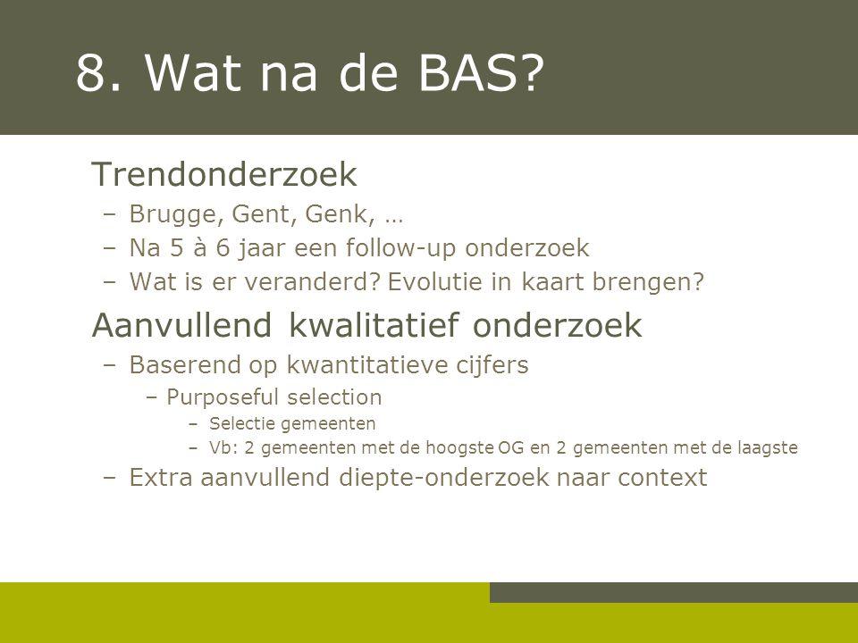 8. Wat na de BAS? Trendonderzoek –Brugge, Gent, Genk, … –Na 5 à 6 jaar een follow-up onderzoek –Wat is er veranderd? Evolutie in kaart brengen? Aanvul
