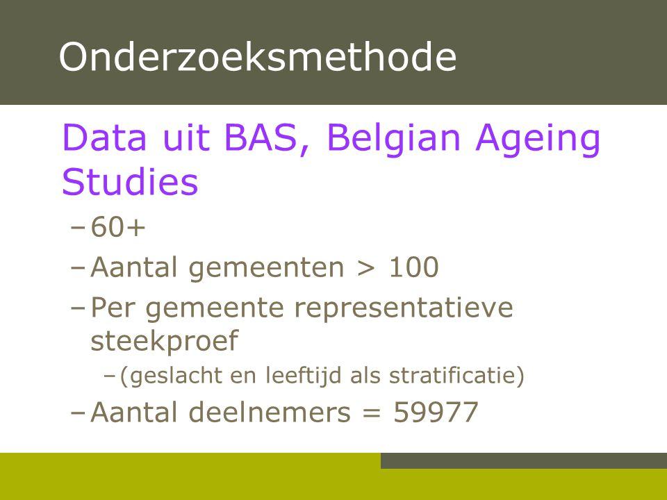 Onderzoeksmethode Data uit BAS, Belgian Ageing Studies –60+ –Aantal gemeenten > 100 –Per gemeente representatieve steekproef –(geslacht en leeftijd al