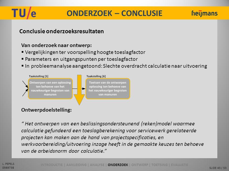SLIDE 43 / 53 L. PEPELS 0569738 ONDERZOEK – CONCLUSIE Conclusie onderzoeksresultaten Van onderzoek naar ontwerp:  Vergelijkingen ter voorspelling hoo
