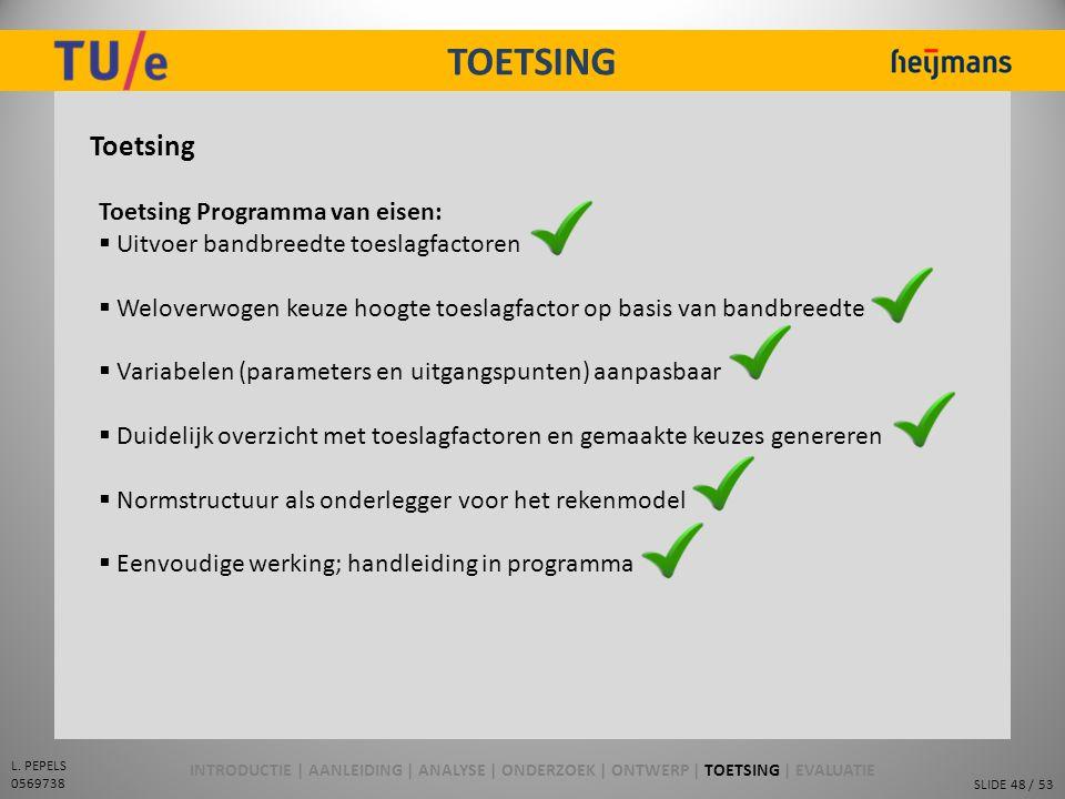 SLIDE 48 / 53 L. PEPELS 0569738 TOETSING Toetsing Toetsing Programma van eisen:  Uitvoer bandbreedte toeslagfactoren  Weloverwogen keuze hoogte toes