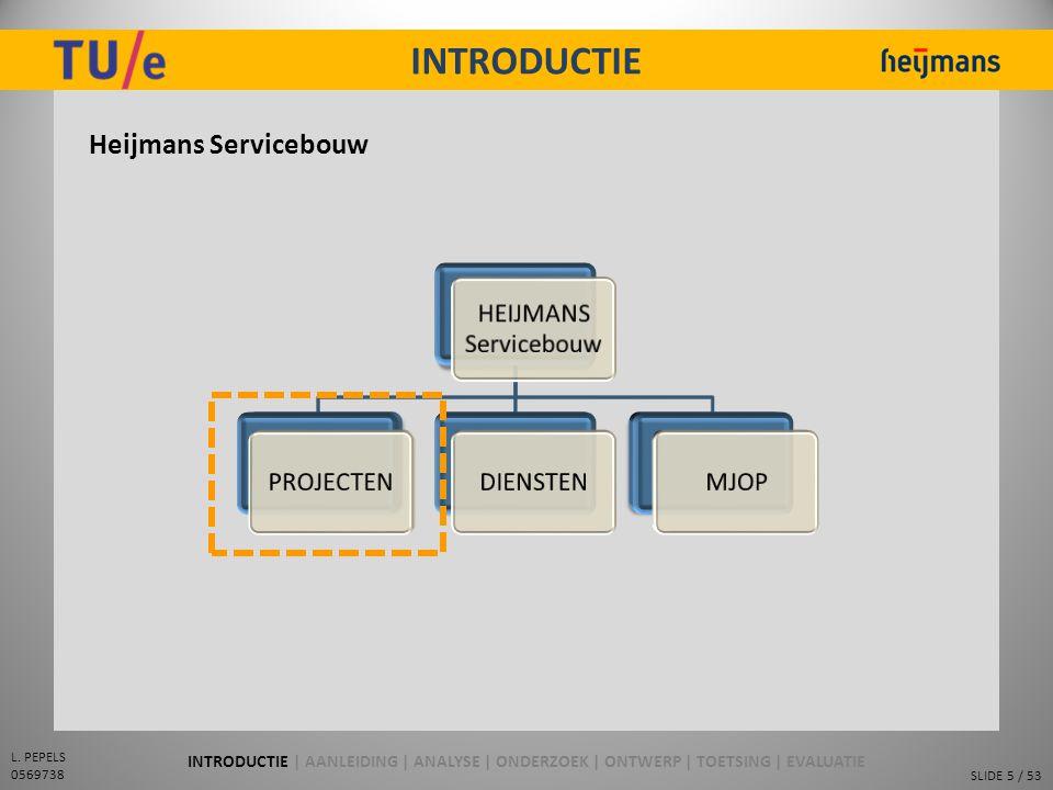 SLIDE 5 / 53 L. PEPELS 0569738 INTRODUCTIE Heijmans Servicebouw INTRODUCTIE | AANLEIDING | ANALYSE | ONDERZOEK | ONTWERP | TOETSING | EVALUATIE