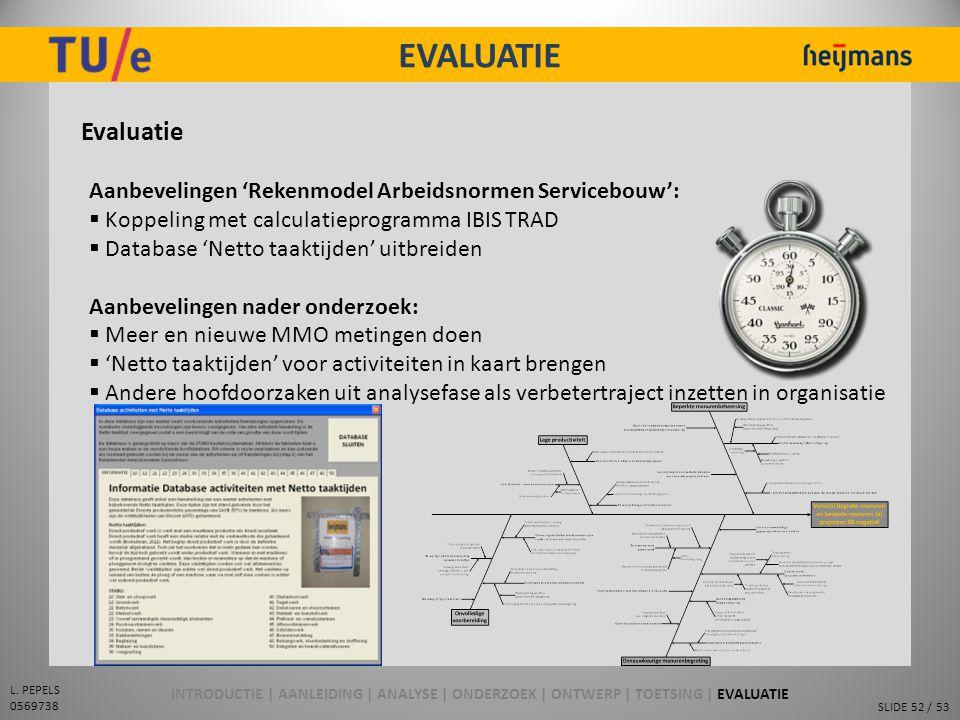 SLIDE 52 / 53 L. PEPELS 0569738 EVALUATIE Evaluatie Aanbevelingen 'Rekenmodel Arbeidsnormen Servicebouw':  Koppeling met calculatieprogramma IBIS TRA