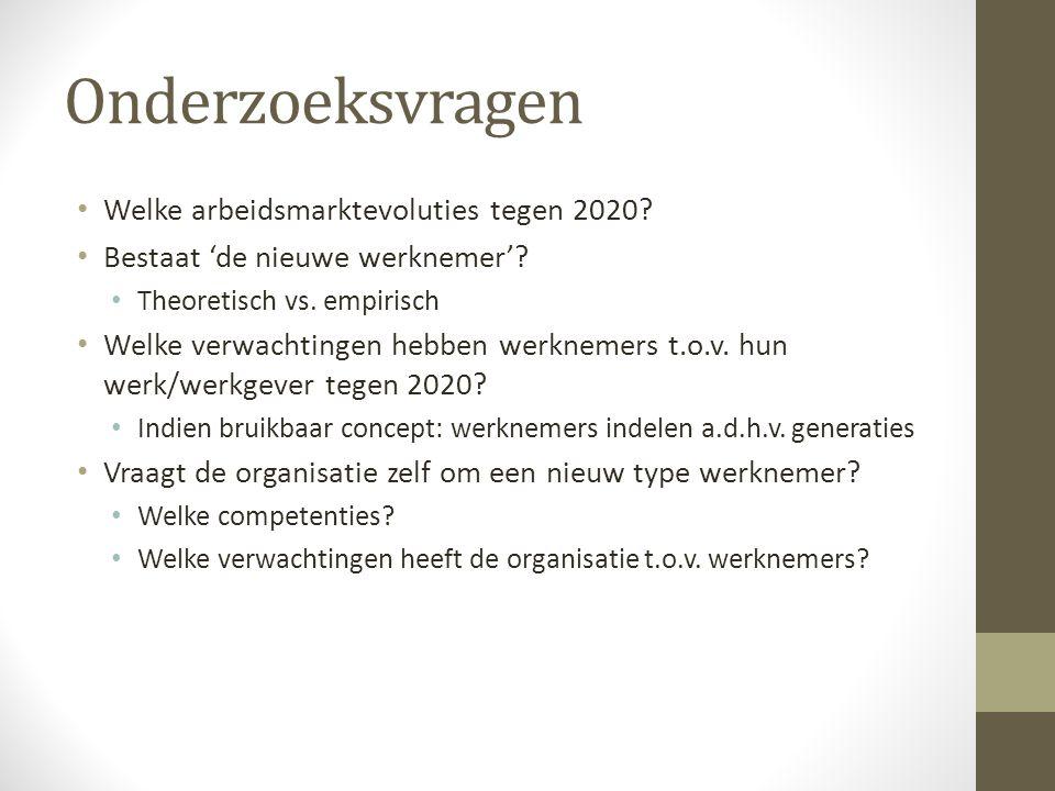Onderzoeksvragen Welke arbeidsmarktevoluties tegen 2020? Bestaat 'de nieuwe werknemer'? Theoretisch vs. empirisch Welke verwachtingen hebben werknemer