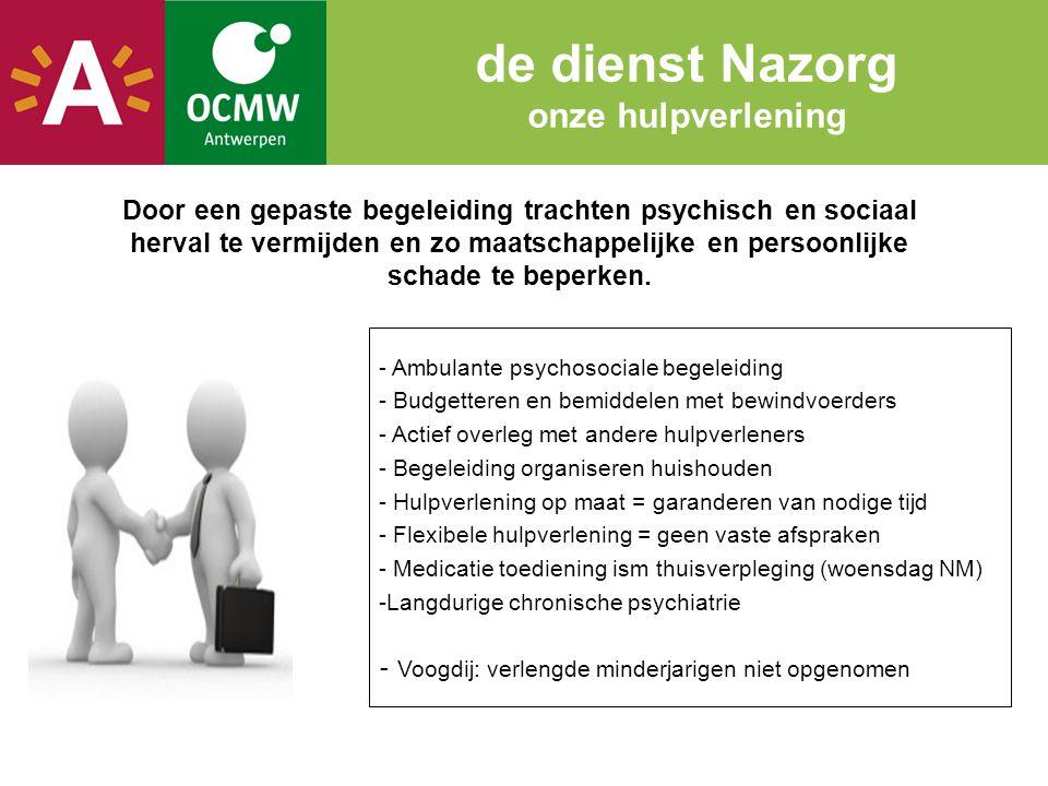 de dienst Nazorg onze hulpverlening Door een gepaste begeleiding trachten psychisch en sociaal herval te vermijden en zo maatschappelijke en persoonli