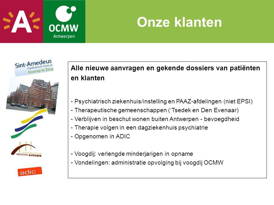 Alle nieuwe aanvragen en gekende dossiers van patiënten en klanten - Psychiatrisch ziekenhuis/instelling en PAAZ-afdelingen (niet EPSI) - Therapeutisc
