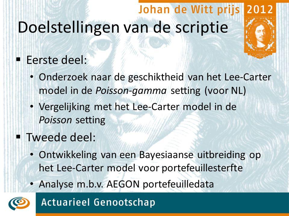 Doelstellingen van de scriptie  Eerste deel: Onderzoek naar de geschiktheid van het Lee-Carter model in de Poisson-gamma setting (voor NL) Vergelijking met het Lee-Carter model in de Poisson setting  Tweede deel: Ontwikkeling van een Bayesiaanse uitbreiding op het Lee-Carter model voor portefeuillesterfte Analyse m.b.v.