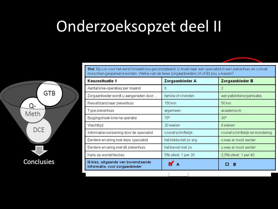 Onderzoeksopzet deel II Conclusies DCE Q- Meth GTB 