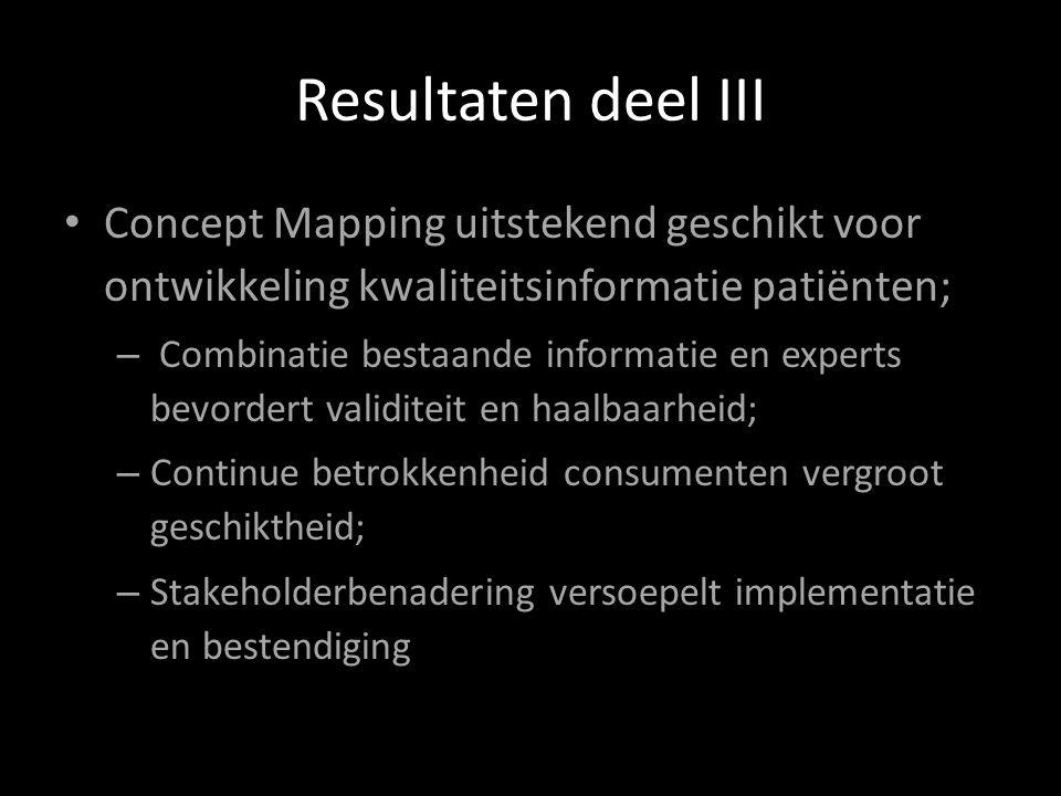 Resultaten deel III Concept Mapping uitstekend geschikt voor ontwikkeling kwaliteitsinformatie patiënten; – Combinatie bestaande informatie en experts bevordert validiteit en haalbaarheid; – Continue betrokkenheid consumenten vergroot geschiktheid; – Stakeholderbenadering versoepelt implementatie en bestendiging