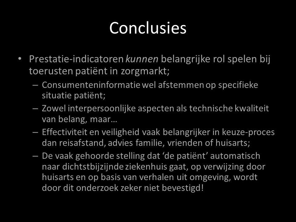 Conclusies Prestatie-indicatoren kunnen belangrijke rol spelen bij toerusten patiënt in zorgmarkt; – Consumenteninformatie wel afstemmen op specifieke situatie patiënt; – Zowel interpersoonlijke aspecten als technische kwaliteit van belang, maar… – Effectiviteit en veiligheid vaak belangrijker in keuze-proces dan reisafstand, advies familie, vrienden of huisarts; – De vaak gehoorde stelling dat 'de patiënt' automatisch naar dichtstbijzijnde ziekenhuis gaat, op verwijzing door huisarts en op basis van verhalen uit omgeving, wordt door dit onderzoek zeker niet bevestigd!