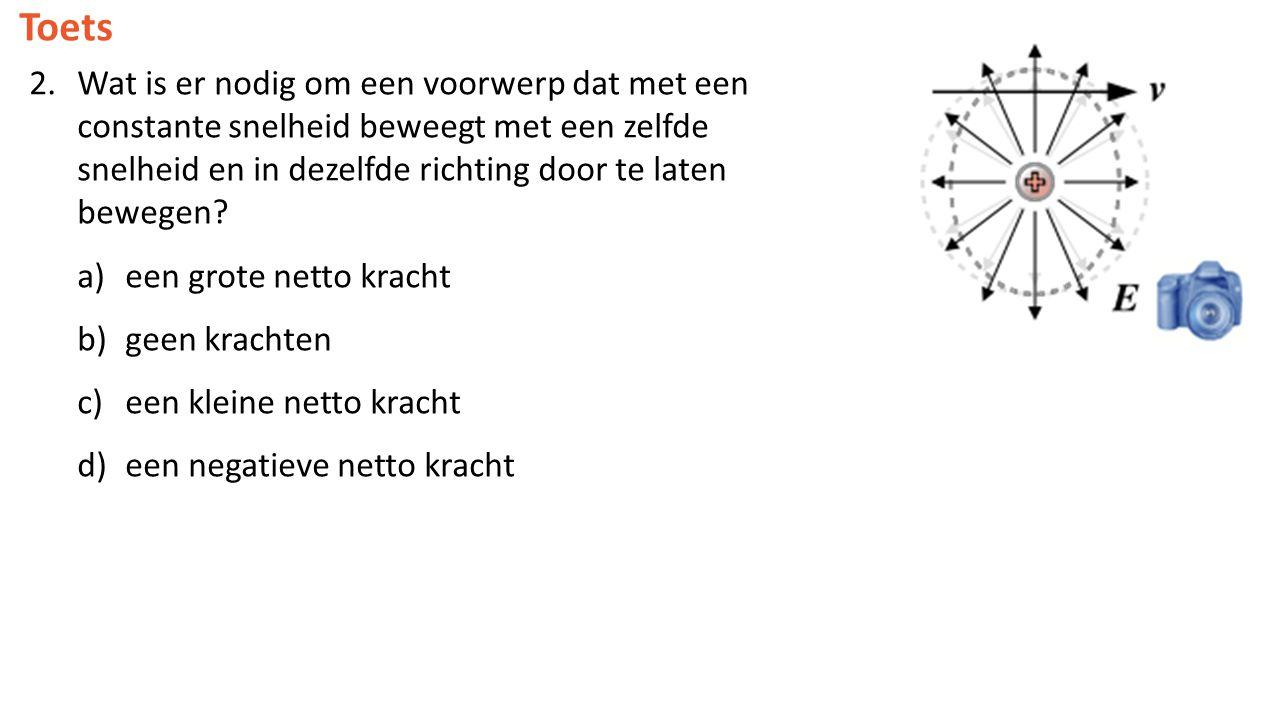 Toets 2.Wat is er nodig om een voorwerp dat met een constante snelheid beweegt met een zelfde snelheid en in dezelfde richting door te laten bewegen?