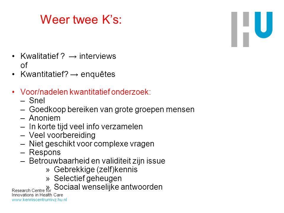 Research Centre for Innovations in Health Care www.kenniscentrumivz.hu.nl Weer twee K's: Kwalitatief ?→ interviews of Kwantitatief? → enquêtes Voor/na