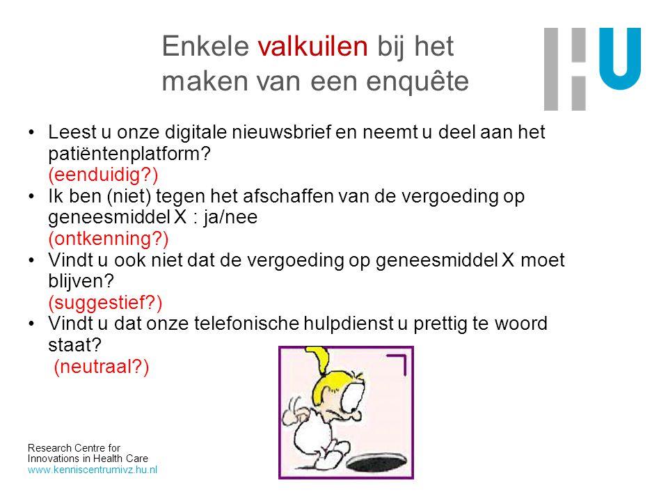 Research Centre for Innovations in Health Care www.kenniscentrumivz.hu.nl Enkele valkuilen bij het maken van een enquête Leest u onze digitale nieuwsb