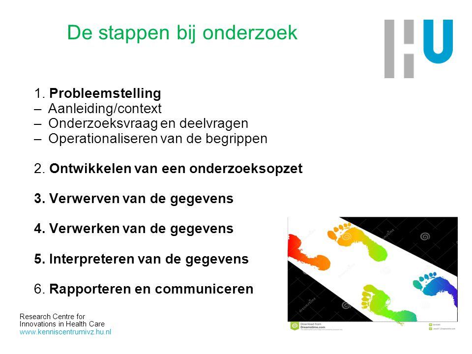 Research Centre for Innovations in Health Care www.kenniscentrumivz.hu.nl De stappen bij onderzoek 1. Probleemstelling –Aanleiding/context –Onderzoeks