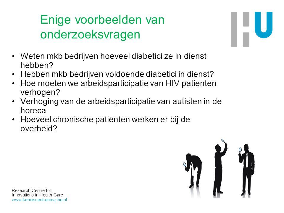 Research Centre for Innovations in Health Care www.kenniscentrumivz.hu.nl Enige voorbeelden van onderzoeksvragen Weten mkb bedrijven hoeveel diabetici