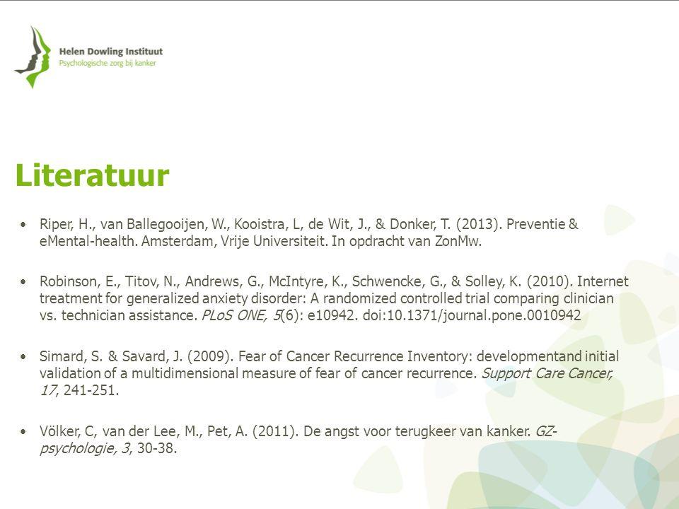 Riper, H., van Ballegooijen, W., Kooistra, L, de Wit, J., & Donker, T. (2013). Preventie & eMental-health. Amsterdam, Vrije Universiteit. In opdracht