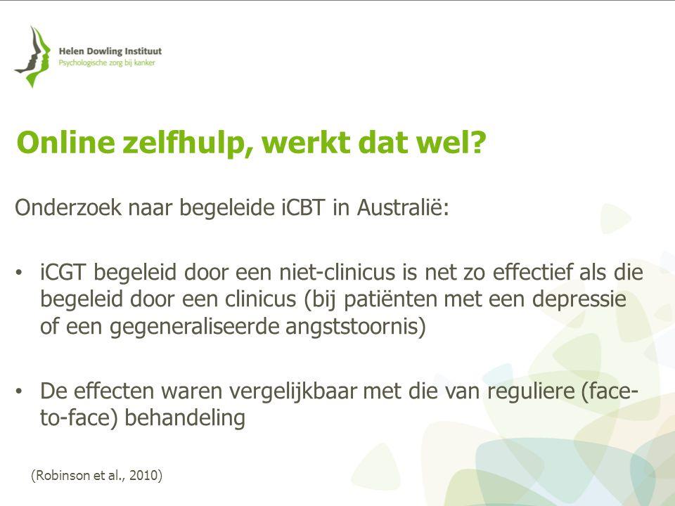 Onderzoek naar begeleide iCBT in Australië: iCGT begeleid door een niet-clinicus is net zo effectief als die begeleid door een clinicus (bij patiënten