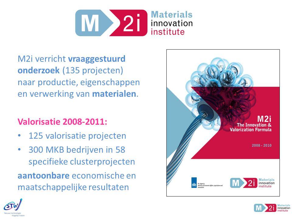 M2i M2i verricht vraaggestuurd onderzoek (135 projecten) naar productie, eigenschappen en verwerking van materialen.