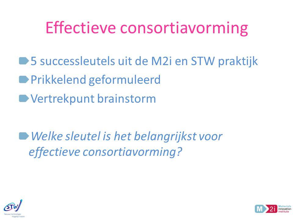 Effectieve consortiavorming 5 successleutels uit de M2i en STW praktijk Prikkelend geformuleerd Vertrekpunt brainstorm Welke sleutel is het belangrijkst voor effectieve consortiavorming?