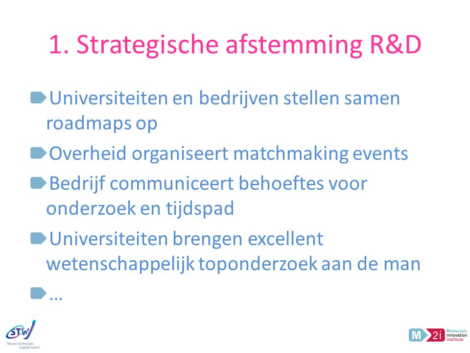 1. Strategische afstemming R&D Universiteiten en bedrijven stellen samen roadmaps op Overheid organiseert matchmaking events Bedrijf communiceert beho