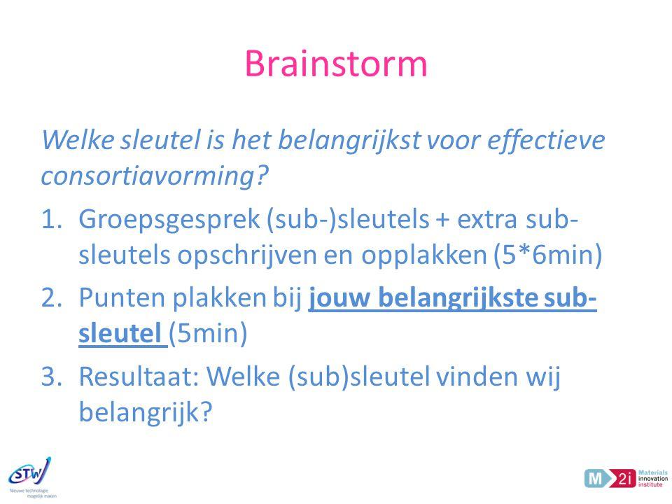 Brainstorm Welke sleutel is het belangrijkst voor effectieve consortiavorming.