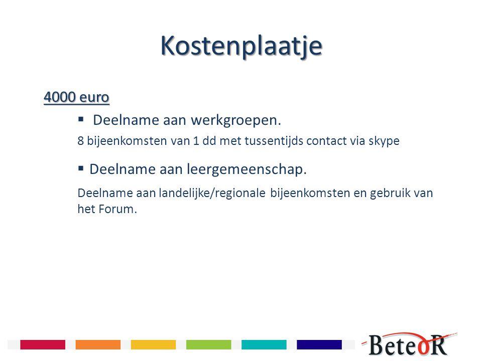 Kostenplaatje 4000 euro 4000 euro  Deelname aan werkgroepen. 8 bijeenkomsten van 1 dd met tussentijds contact via skype  Deelname aan leergemeenscha