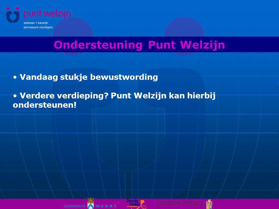 Ondersteuning Punt Welzijn Vandaag stukje bewustwording Verdere verdieping.
