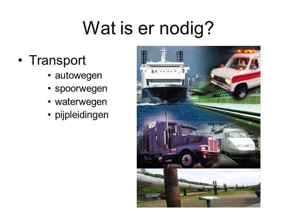 Wat is er nodig? Transport autowegen spoorwegen waterwegen pijpleidingen