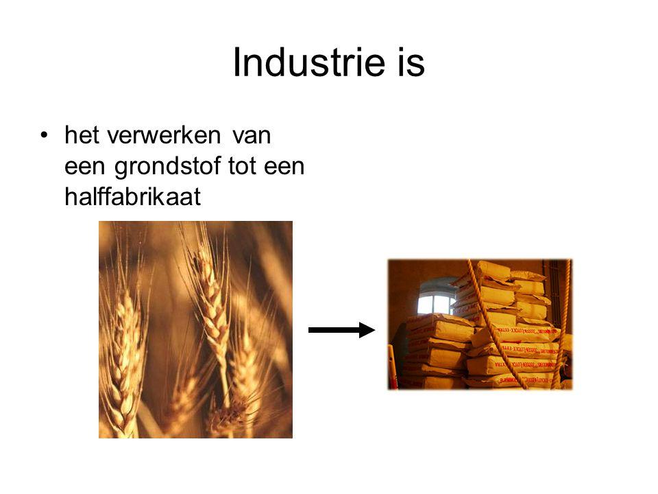 Industrie is het verwerken van een grondstof tot een halffabrikaat of het verwerken van een halffabrikaat tot een fabrikaat